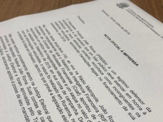 Documento da Nota oficial